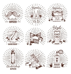 Barbershop Hipster Style Labels vector image