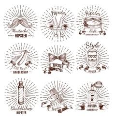 Barbershop Hipster Style Labels vector