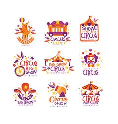 Big circus show logo design set carnival festive vector