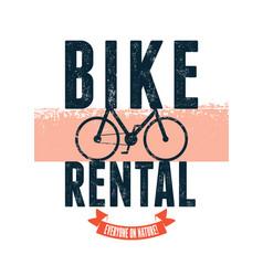 Bike rental typographical vintage poster design vector