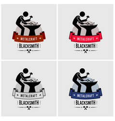 Blacksmith metal work logo design artwork vector