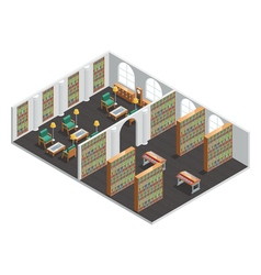 Bookstore And Library Isometric Interior vector image