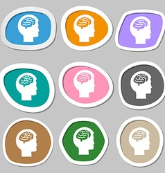 Brain symbols Multicolored paper stickers vector image