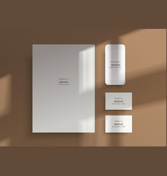 branding mockups natural lighting shadows overlay vector image