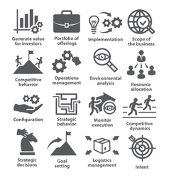 Business management icons Pack 15 vector
