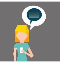 Cartoon girl smartphone bubble speech social media vector