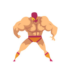 Cartoon strong wrestler in powerful pose fighter vector