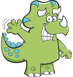 Cartoon Triceratops Waving vector image