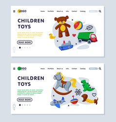 children toys landing page templates set toy shop vector image