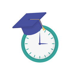 Clock time graduation hat school learning online vector