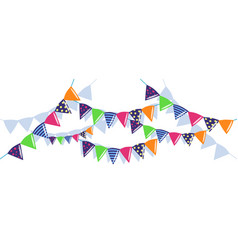 Colorful buntings garlands and paper chain vector
