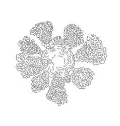 Coronavirus cell miscroscopic line drawing vector