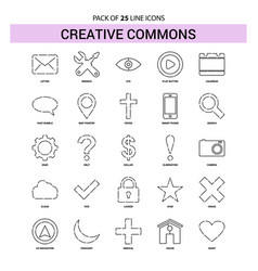 Creative commons line icon set - 25 dashed vector