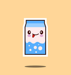 cute milk box icon kawaii container with smiley vector image