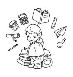 Cute school kid ready to education vector