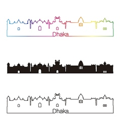 Dhaka skyline linear style with rainbow vector