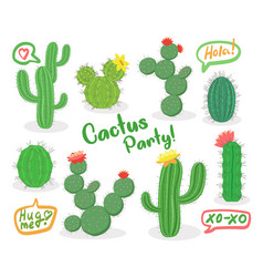different green succulent plants with flowers icon vector image