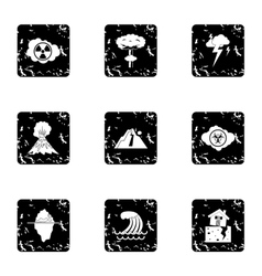 Disaster icons set grunge style vector
