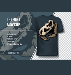 eagle skull print template mock-up layout as an vector image
