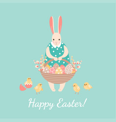 easter greeting card with a happy easter bunny vector image