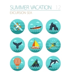 Excursion sea icon set Summer Vacation vector