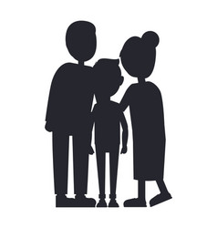 family silhouette isolated on white background vector image