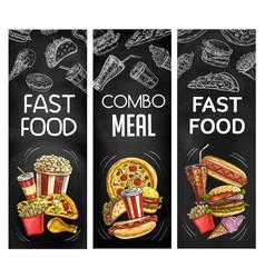 fasst food chalkboard black banners vector image