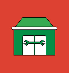 Flat icon design collection service station vector