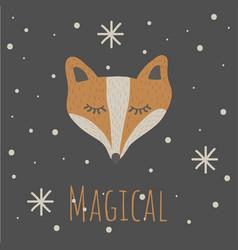 funny fox magicalretro style vector image