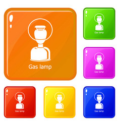 Gas lamp icons set color vector