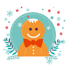 gingerbread man cookie christmas winter holiday vector image