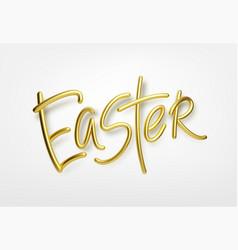 Golden metallic shiny typography happy easter 3d vector