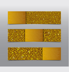 Golden sequins banners card brochure probe vector