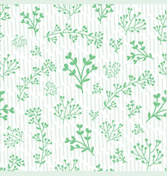 Green hand-drawn leafs doodle with stripes vector