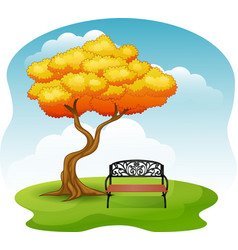 Green park with bench under autumn tree vector