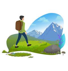 Guy in mountains hiker or backpacker traveler vector