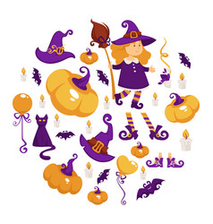 halloween party girl in witch costume trick or vector image