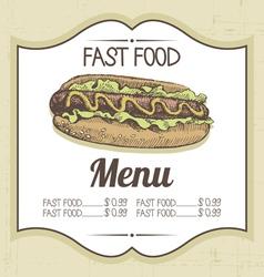 Hand drawn vintage fast food background vector image
