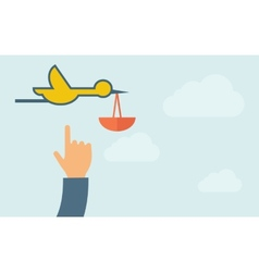 Hand pointing to a bird carrying bag vector