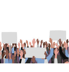 hands up pattern with banners public protest vector image
