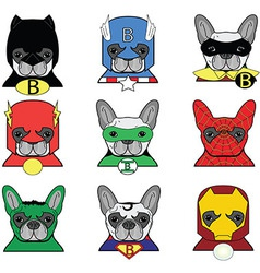 Heroes French bulldog vector