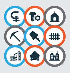 Industry icons set with scraper chapel temple vector