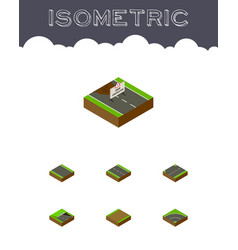 Isometric way set of upwards footpath without vector