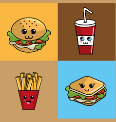 Kawaii set fast food icon adorable expression vector