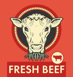 Label of cute bull vector