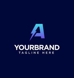 Letter a electric logo design logo template vector