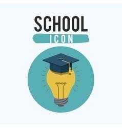 Light bulb and school inside circle design vector