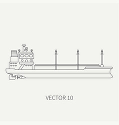 line flat retro icon container cargo ship vector image