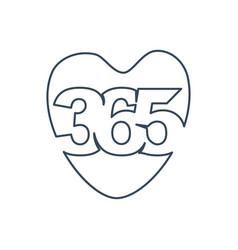 Love care 365 infinity logo icon design outline vector