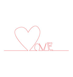 Love text with continuous line drawing of heart vector